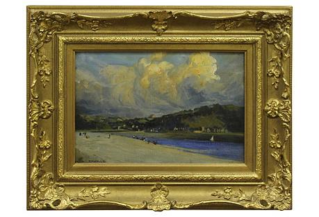 Beach Scene by F. Emmanuel