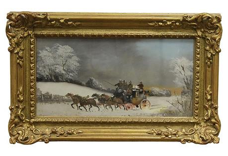 Winter Coach Scene by P. Rideout