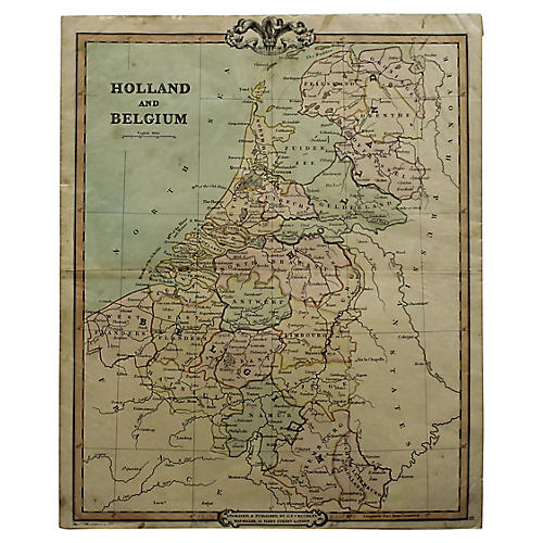 Antique Map of Holland and Belgium