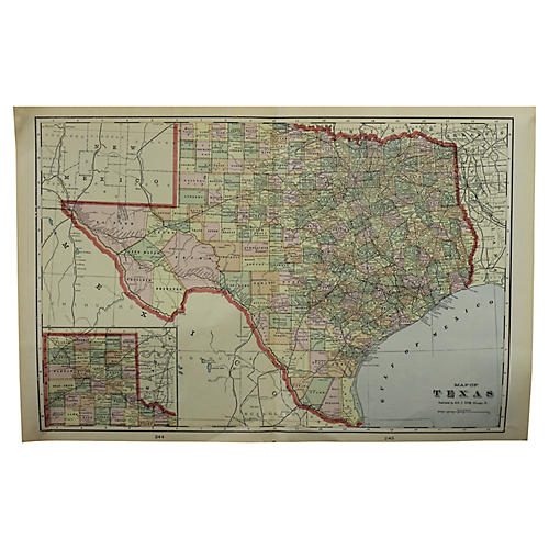 Antique Map of Texas by G. Cramm