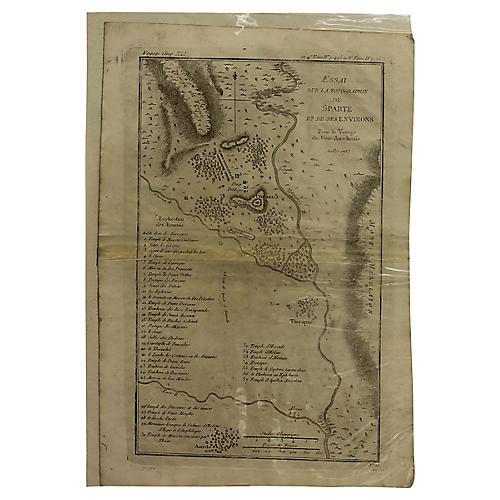 Antique Map of Ancient Sparta