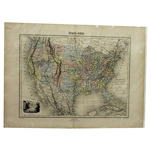 Map of the USA, 1860