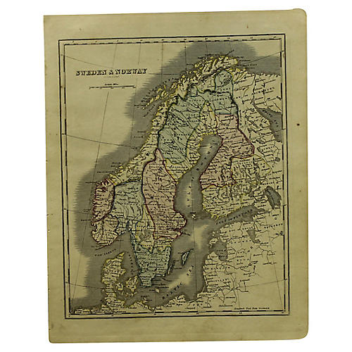 Antique Map of Sweden & Norway