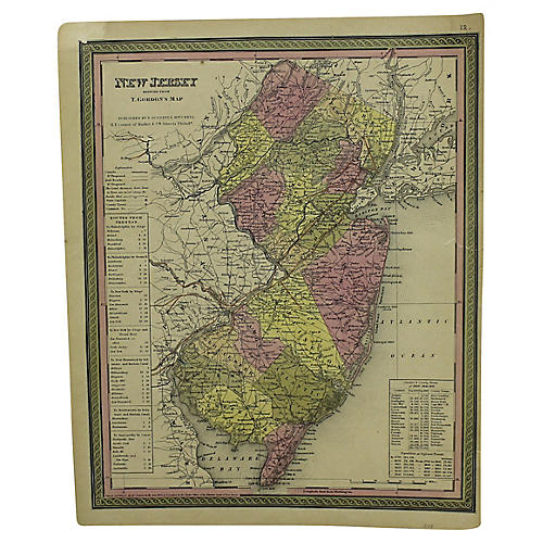 Antique Map of New Jersey