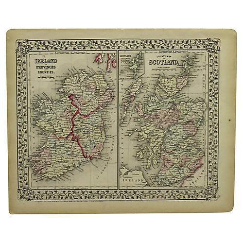 Antique Map of Scotland & Ireland