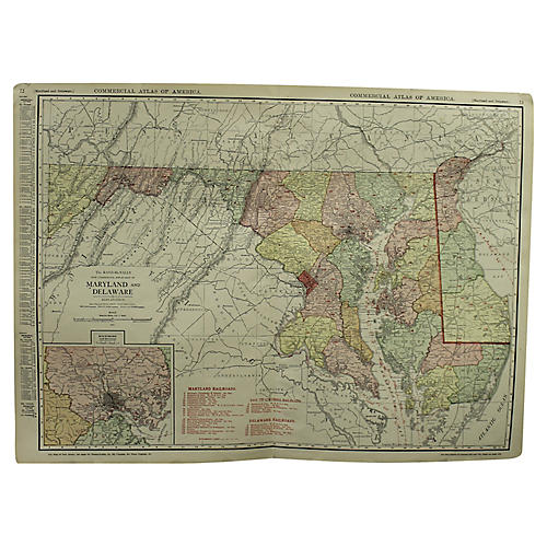 Antique Map of Maryland & Delaware