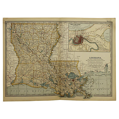 Antique Map of Louisiana