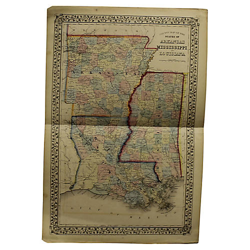 Antique Southern Tri-State Map