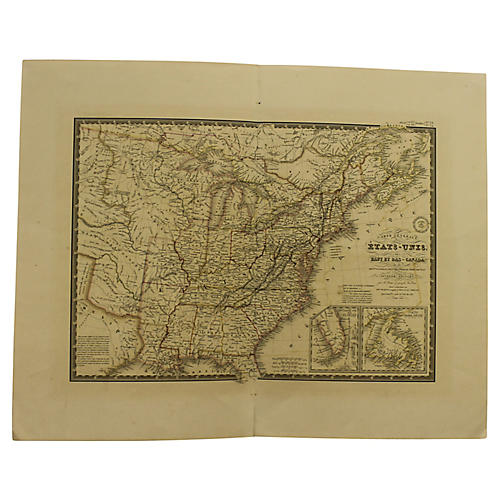 Antique Map of US & Canada