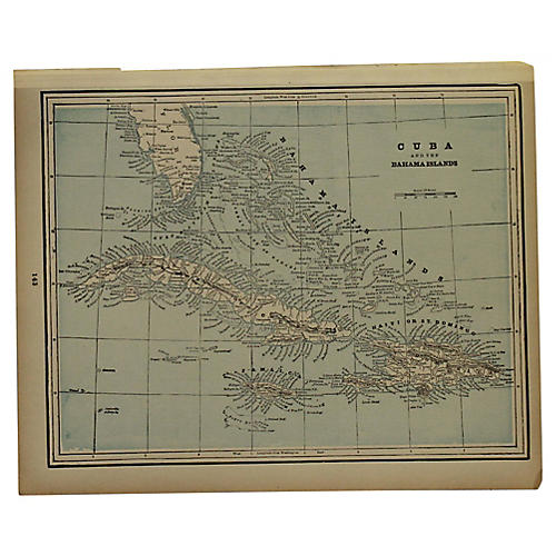Antique Map of Cuba & Bahamas