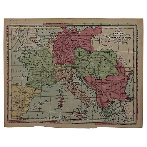 Antique Map of Central & Southern Europe