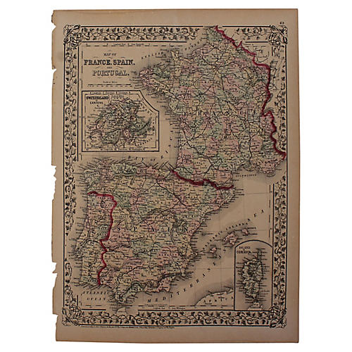 Antique France, Spain & Portugal Map