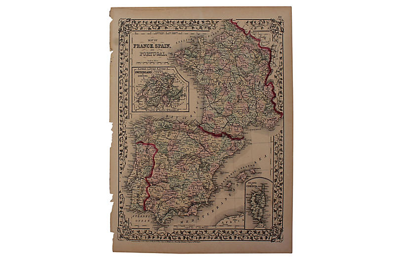 Map Of Spain Portugal And France.Antique France Spain Portugal Map