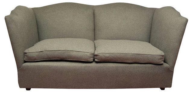 Charcoal Wool Flannel Sofa