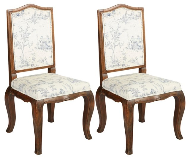 French Provençal Side Chairs, Pair