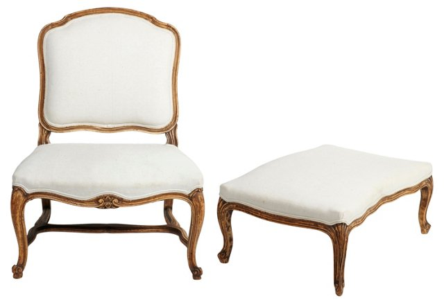 Louis XV-Style Chair & Footstool