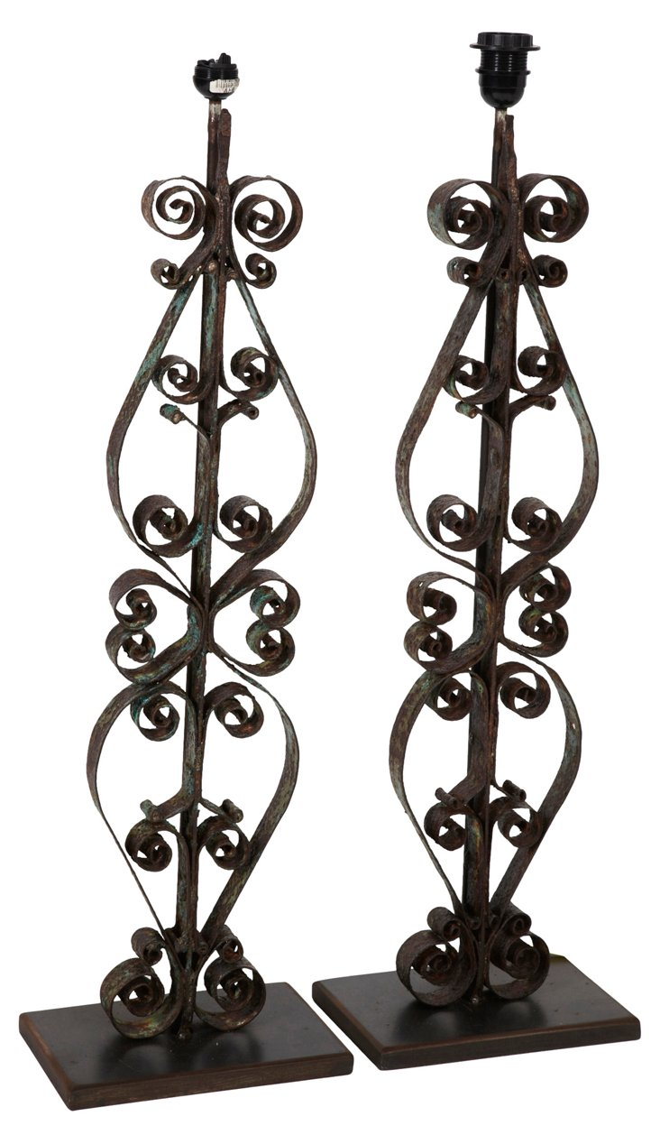 Iron Scroll Lamps, Pair