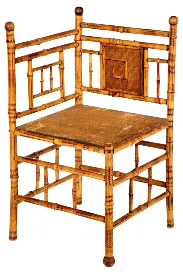 19th-C.  Faux-Bamboo Corner Chair