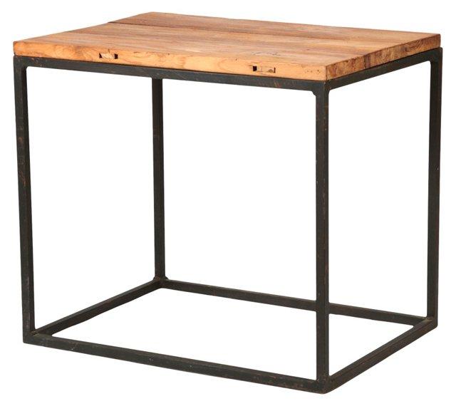 Industrial Side Table w/ Teak Top