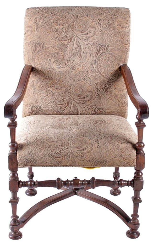 Antique Italian Fruitwood Armchair