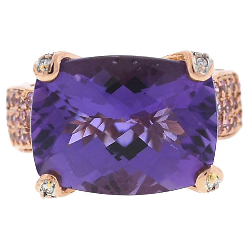 14K Rose Gold Amethyst & Diamond Ring