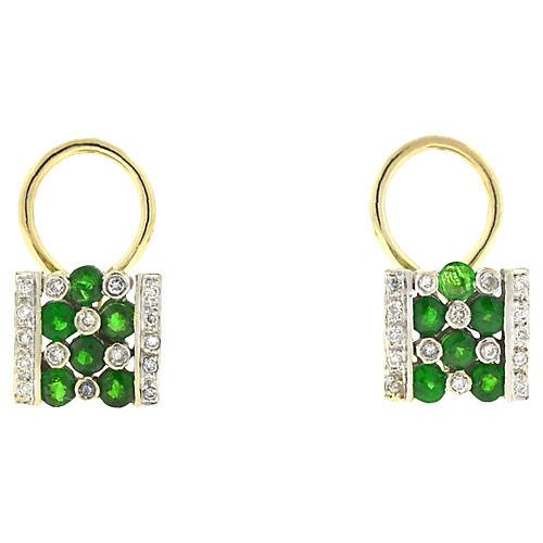 14K Gold, Emerald & Diamond Earrings