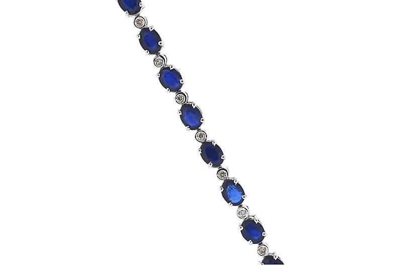 14K Gold, Sapphire & Diamond Bracelet