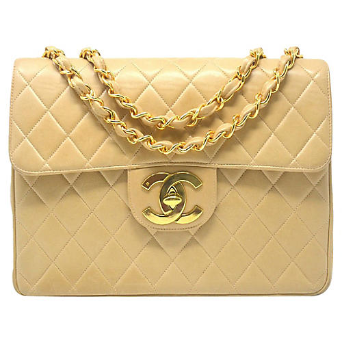Chanel Beige Maxi Single-Flap Handbag
