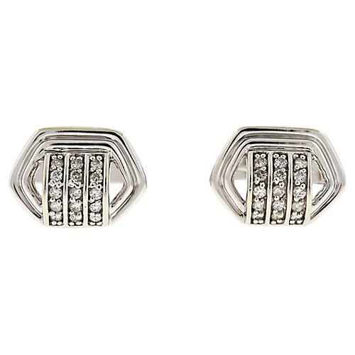 14K White Gold & Diamond Cuff Links
