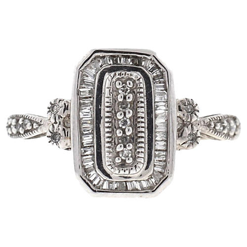 14K White Gold Diamond Rectangular Ring