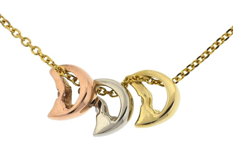 14K Tri-Color Diamond Moon Necklace
