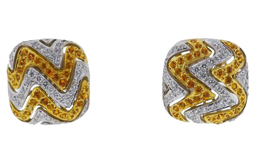 18K Gold, Diamond & Citrine Earrings