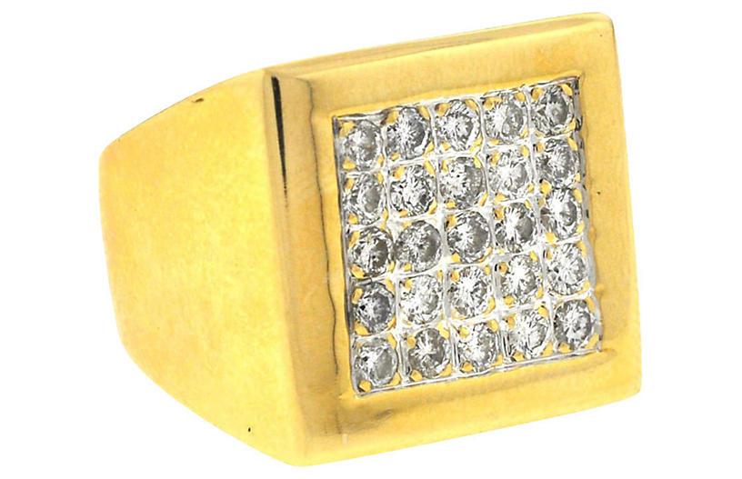 14K Gold & Diamond Square Ring