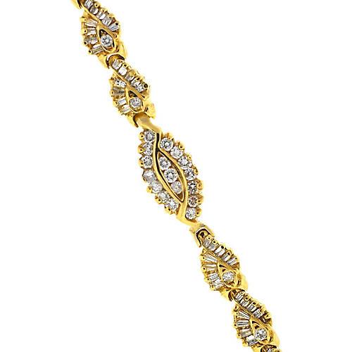 Twisted 14K Gold & Diamond Bracelet