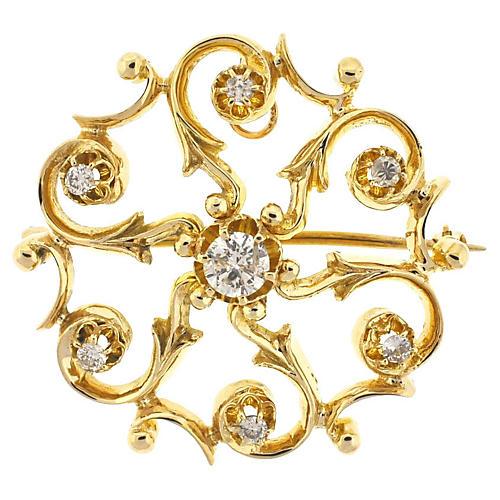 14K Gold & Diamond Brooch