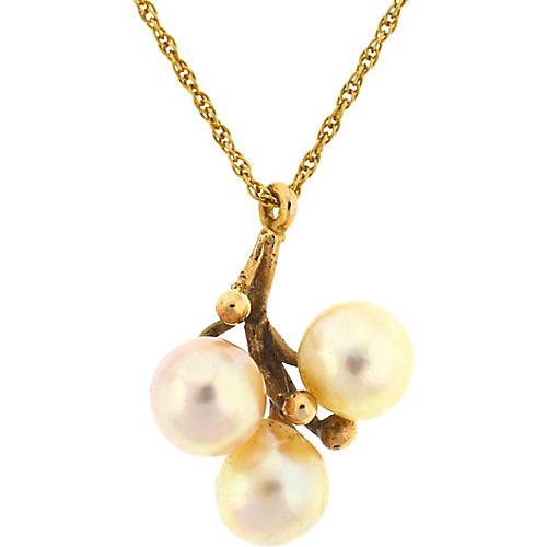 14K Gold Three-Pearl Pendant Necklace