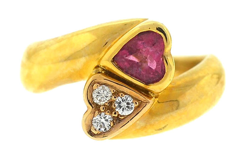 14K Gold Heart Tourmaline & Diamond Ring