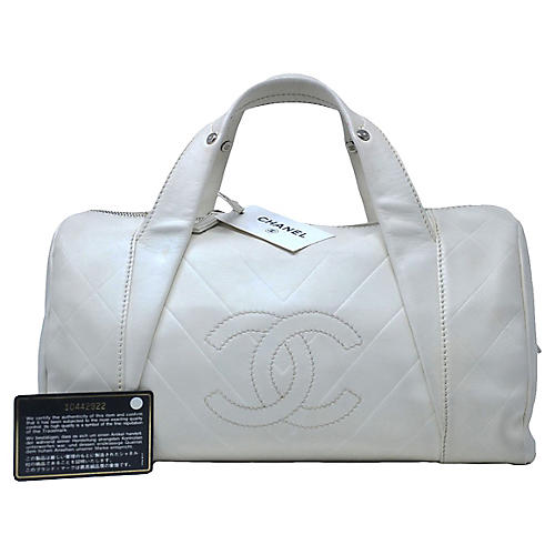 Chanel CC White Leather Handbag