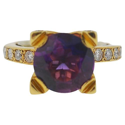 14K Gold, Amethyst & Diamond Ring