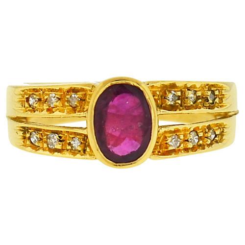 14K Gold, Oval Ruby & Diamond Ring
