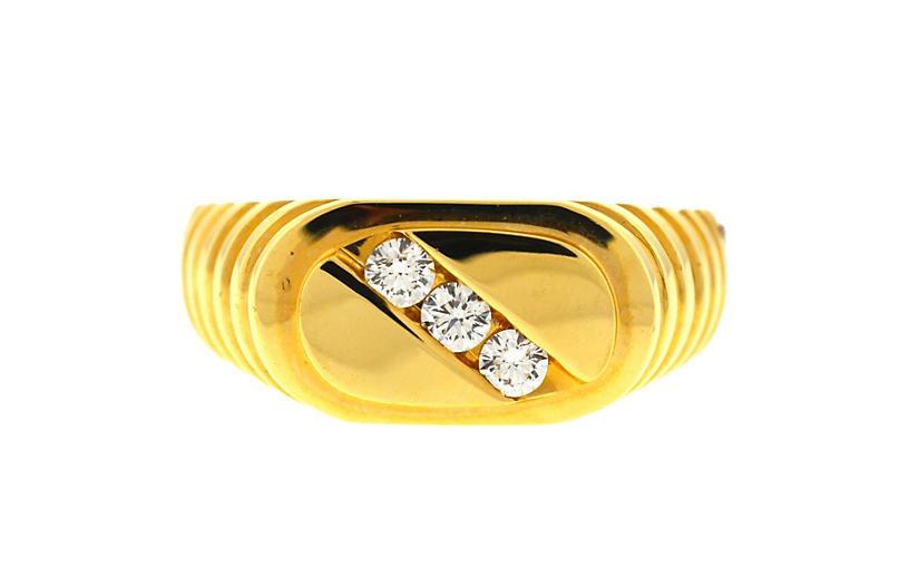 14k Yellow Gold Three Stone Men's Ring