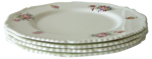 English Floral Dinner Plates, S/4