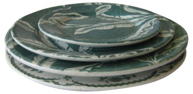 Green & White Plates, S/4