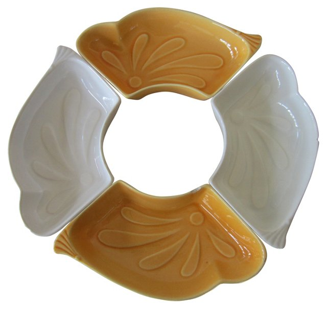 Yellow & White Dishes, S/4