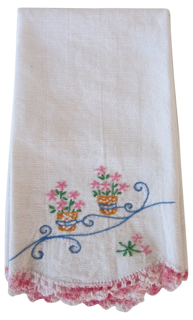 Embroidered Towel w/ Pink Lace