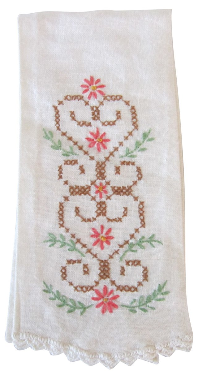 Embroidered Linen Guest Towel