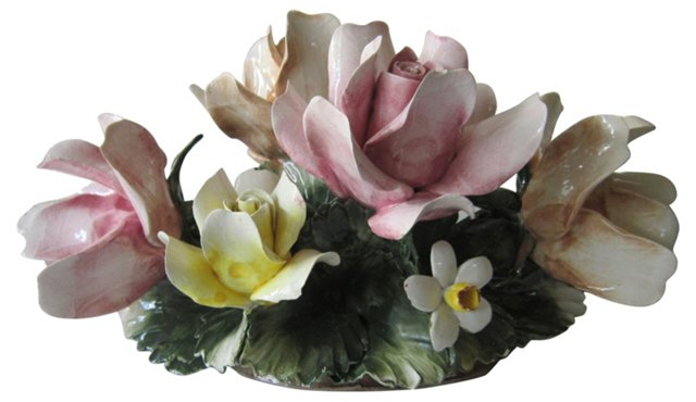 Italian Porcelain Floral Centerpiece