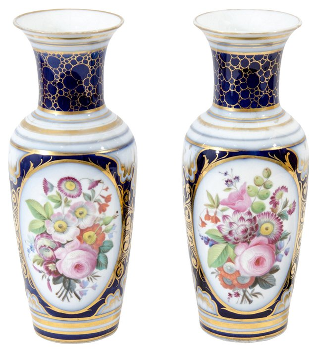 19th-C. French Bayeux Vases, Pair