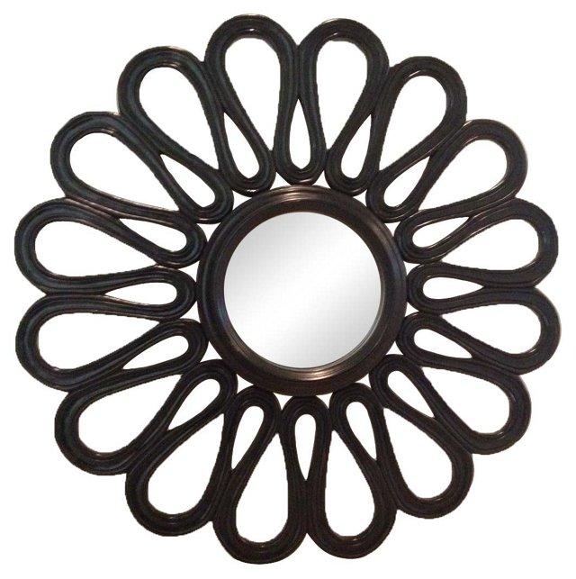 Sunburst Black Lacquered Mirror