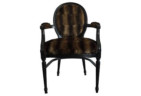 Faux-Fur Louis XIV-Style Armchair